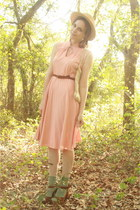 tan boater thrifted hat - peach pleated httpstoresebaycomTwitchVintage dress