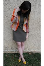 orange Target blazer - brown Target dress - gold thrifted shoes
