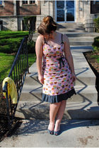 pink Paperdoll Productions dress - silver naturalizer shoes - yellow H&M cardiga