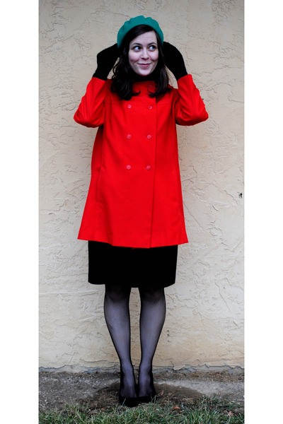 red thrifted coat - black INC dress - black Target shirt