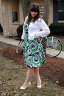 Green-thrifted-dress-white-chloe-shoes