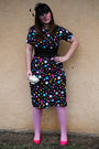 Black-bettie-page-dress-pink-betsey-johnshon-tights-pink-thrifted-shoes-bl