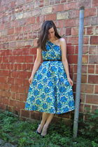 blue self-made dress
