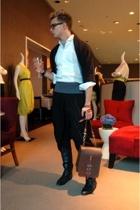 Vintage Japanese Hapi  Coat jacket - Vintage Tuxedo shirt - Vintage Cumberbund b