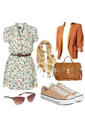 tawny blazer - bronze shoes - dress - mustard scarf - tawny bag - coral glasses