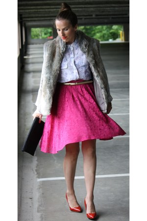 lace f21 skirt - Equipment Femme blouse - elle vest - Steven pumps