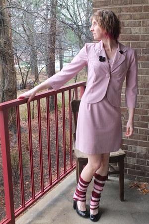 light pink thrifted dress My Michelle suit - crimson socks