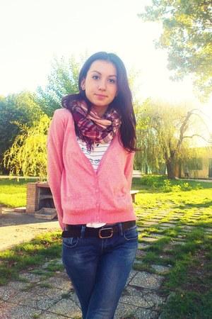 pink Bershka cardigan - navy jeans - bubble gum NKD scarf - black Bershka belt