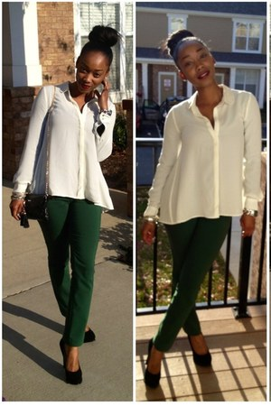 H&M blouse - H&M pants - Guess heels