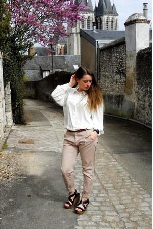 black Minelli sandals - light pink H&M pants - white thrifted vintage blouse