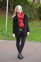 black H&M coat - black H&M jeans - gray H&M sweater - red H&M scarf