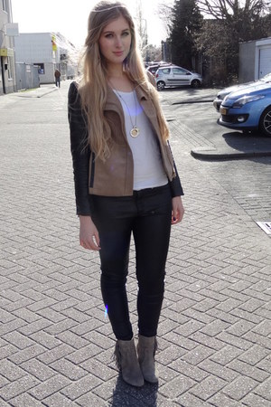 light brown H&M boots - light brown H&M jacket - white H&M shirt