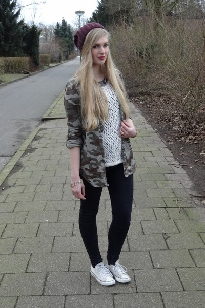 army Only blouse - skinny H&M jeans - beanie H&M hat - knit H&M sweater