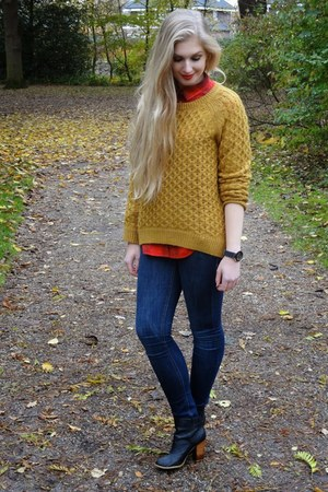 navy H&M jeans - orange H&M sweater - red H&M blouse - black H&M heels