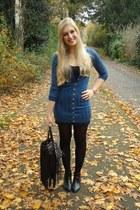 blue wwwkenzaanl cardigan - black H&M boots - charcoal gray leopard H&M scarf