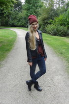 black H&M boots - dark gray Primark jeans - brick red H&M hat - black we jacket