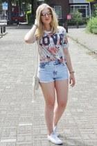 ivory fringe fringed H&M bag - sky blue H&M shorts