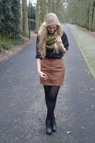 olive green pieces scarf - burnt orange fake leather H&M skirt - black H&M blous