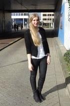 black H&M shoes - black H&M jacket - white H&M shirt - black Only pants