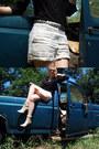 Beige-isaac-mizrahi-boots-brown-hat-ivory-shorts-silver-disc-belt-belt