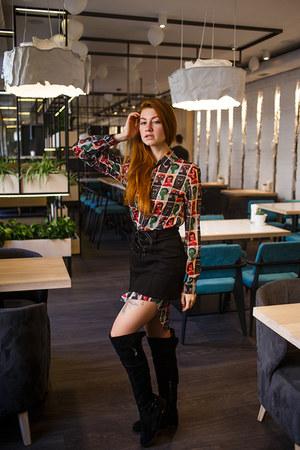 follow by anns shirt - black dreesslily skirt