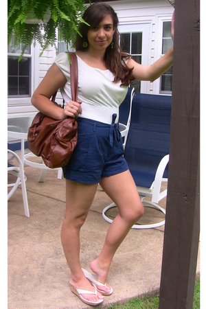 Urban Outfitters earrings - ann taylor shirt - Urban Outfitters shorts - Nine We