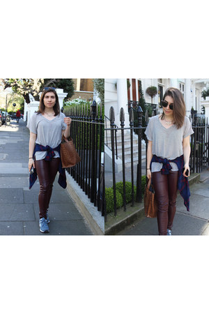 leather Furla bag - fake leather H&M leggings - plaid Zara shirt