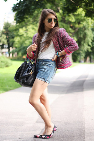 red Zara jacket - blue DIY shorts - white Bennetton t-shirt