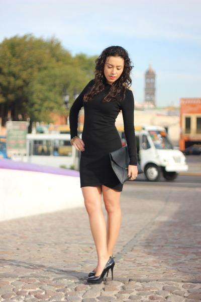 Black Longsleeve Mango Dresses Black Envelope Hm Bags Black Guess