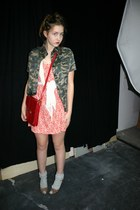 white cotton flea market scarf - hot pink H&M dress - red school flea market bag