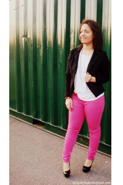 black Jcpenny blazer - bubble gum Wetseal jeans - white Forever21 shirt