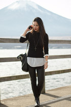 Shimamura shirt - H&M boots - vintage sweater - leather H&M leggings