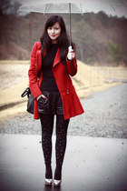 leather H&M shorts - Forever 21 shoes - Burberry Blue Label coat
