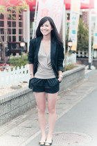 leather H&M shorts - vintage blazer - Michael Kors bag - Shimamura flats