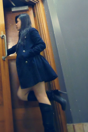 navy trench coat coat - black knee-high boots boots