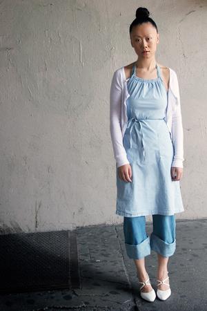 blue Petit Bateau dress - blue John Galliano jeans - white Clu shirt