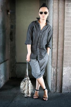 black YSL shirt - black silver Chloe sunglasses - gray pinstripe mens pants