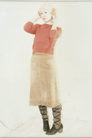 orange vintage sweater - brown Dolce Vita boots