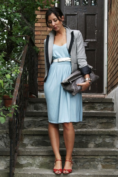 blue Newport News dress - BCBG blazer - Club Monaco purse - vintage shoes - vint