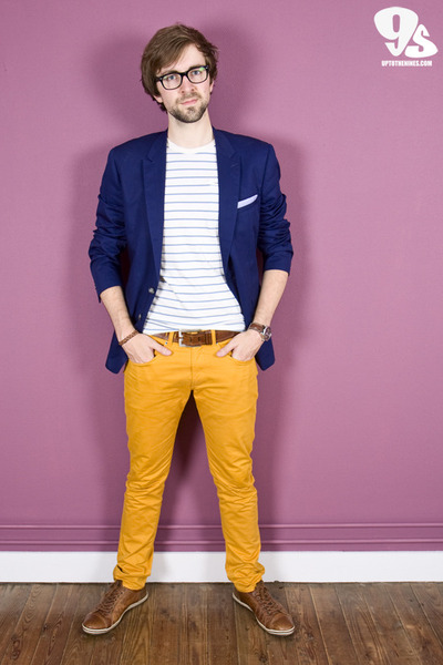 navy Matinique blazer - brown CPS by Cypres shoes - mustard Matinique pants