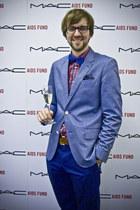 blue Matinique blazer - ruby red H&M shirt - brown Matinique belt