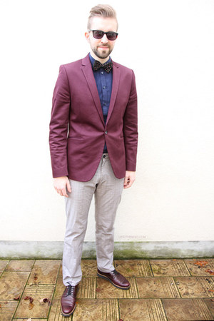 crimson COS shoes - maroon H&M blazer - navy Matinique shirt