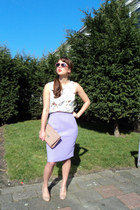 light purple tubeskirt Monki skirt - light orange clutch woven H&M purse