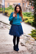 navy Stradivarius boots - navy Zara dress - teal Bershka sweater