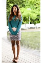green H&M sweater - Zara dress - peach Atmosphere bag - peach Atmosphere wedges