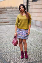 pull&bear skirt - lime green H&M sweater - Steve Madden bag - DamaMama necklace