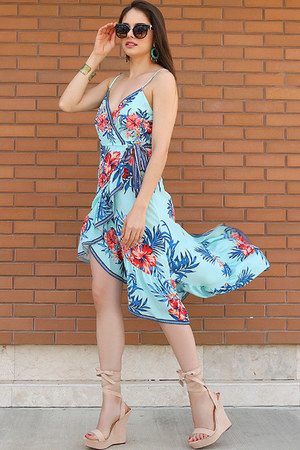 sky blue wrap dress UrbanOG dress