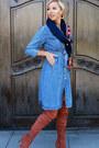 Brown-urbanog-boots-sky-blue-urbanog-dress