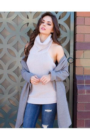 gray UrbanOG coat - blue UrbanOG jeans - gray UrbanOG top