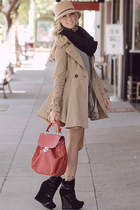 coat - mallika-19 boots - urban citizen dress - hat - scarf - mixed feelings bag